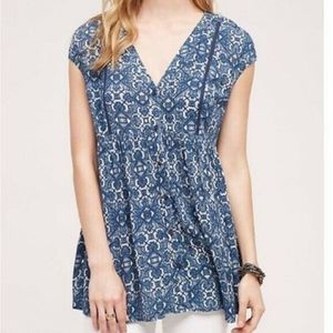Anthropologie Blue Mosaic Button Front Tunic NWT M
